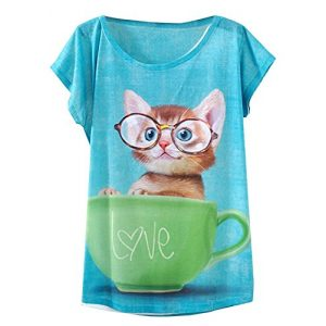 futurino Graphic Tshirt 1 Women's Lovely Cup Cat in Teacup Print Short Sleeve T Shirt Tops