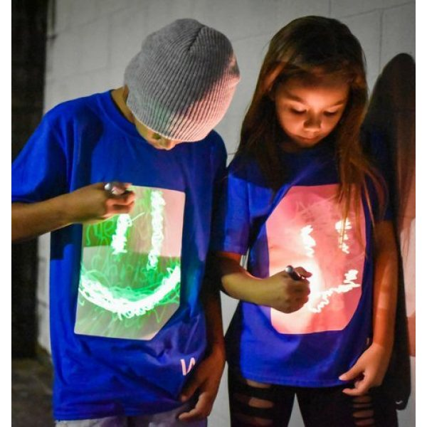 Illuminated Apparel Graphic Tshirt 2 Interactive Glow in The Dark T-Shirt - Fun for Birthday Parties & Festivals