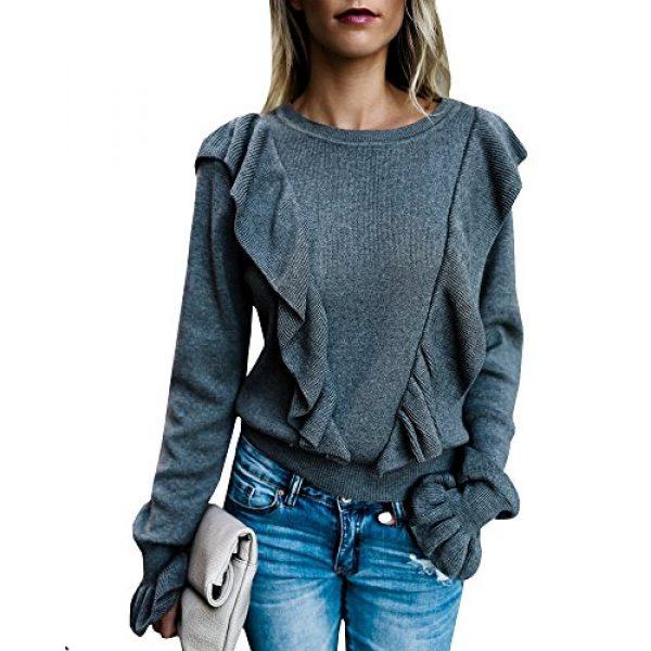 Imily Bela Graphic Tshirt 1 Women's Crew Rib Ruffle Front Puff Long Sleeve Blouse Sweater Crop T Shirts