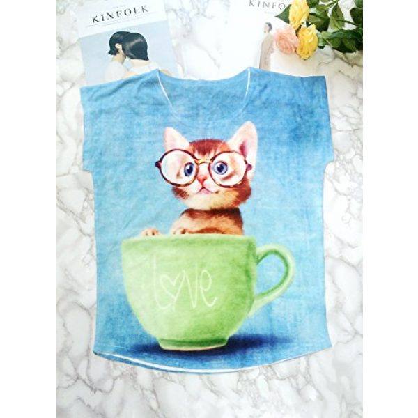 futurino Graphic Tshirt 2 Women's Lovely Cup Cat in Teacup Print Short Sleeve T Shirt Tops