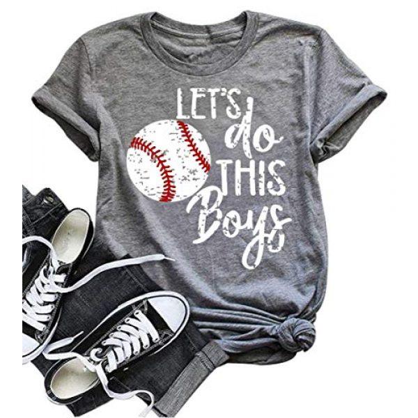 DUDUVIE Graphic Tshirt 1 Women Let's Do This Boy Baseball Mom Tshirt Casual Letter Print Tops Tee