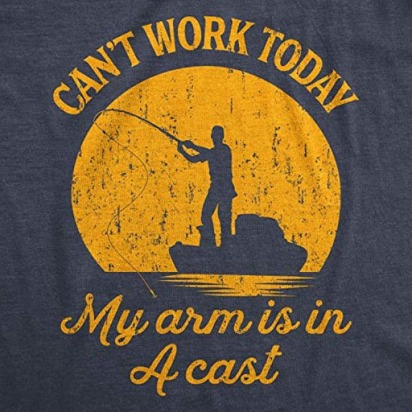 Crazy Dog T-Shirts Graphic Tshirt 2 Mens Can't Work Today My Arm is in A Cast T-Shirt Funny Fishing Fathers Day Tee