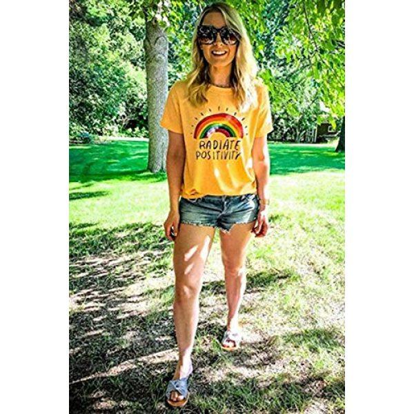 Mahrokh Graphic Tshirt 4 Women Radiate Positivity Rainbow Shirt Funny T Shirts Short Sleeve Graphic Tees Casual Tops
