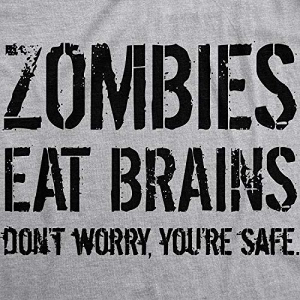 Crazy Dog T-Shirts Graphic Tshirt 2 Mens Zombies Eat Brains So You're Safe Funny T Shirt Sarcastic Humor Halloween