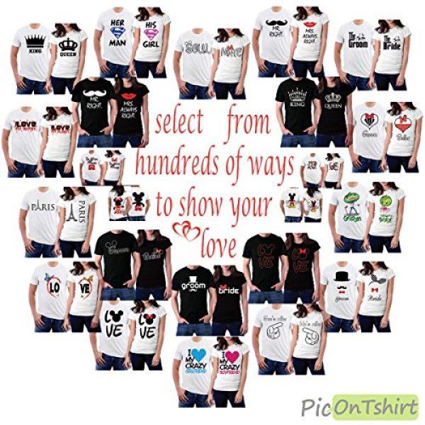 picontshirt Graphic Tshirt 3 Love MM Black Couple T-Shirts