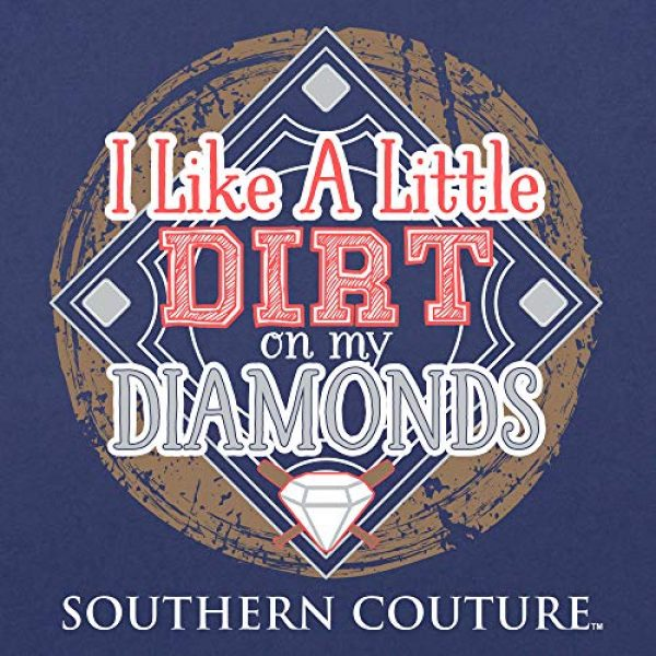 Southern Couture Graphic Tshirt 3 SC Classic Dirt on My Diamonds Ball Field Womens Classic Fit T-Shirt - Metro Blue
