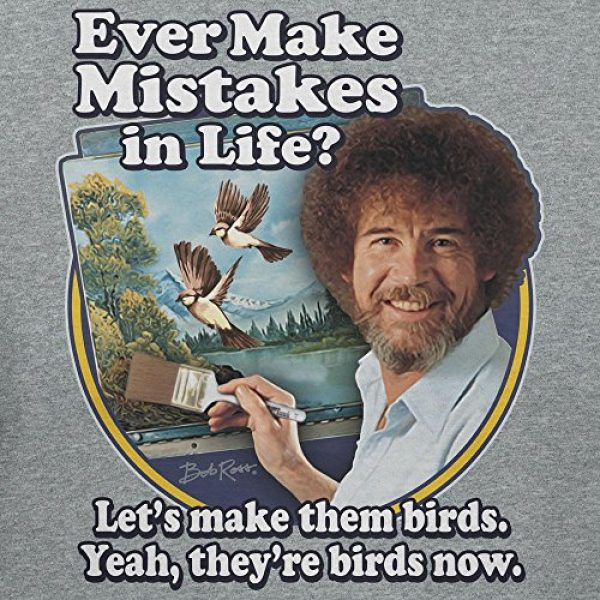Teelocity Graphic Tshirt 2 Bob Ross Make Mistakes Into Birds Official Licensed T-Shirt