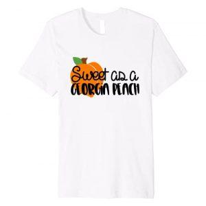 Funny and cute Georgia shirts Graphic Tshirt 1 Sweet as a Georgia Peach t shirt with bright peach
