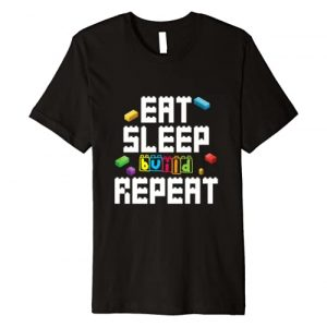 Eat Sleep Build Repeat Master Builder Dressed4Duty Graphic Tshirt 1 Eat Sleep Build Repeat Building Blocks Bricks Master Builder Premium T-Shirt
