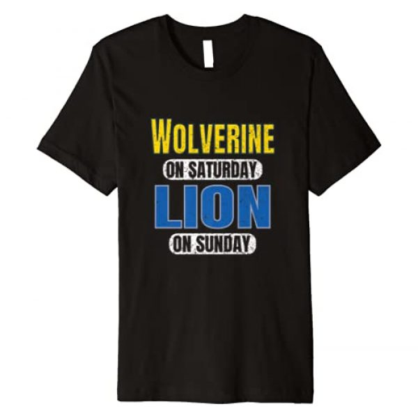 Lion on Saturday Special Football Fan Vintage Tees Graphic Tshirt 1 Wolverine on Saturday Lion on Sunday Detroit Gift Idea Funny Premium T-Shirt