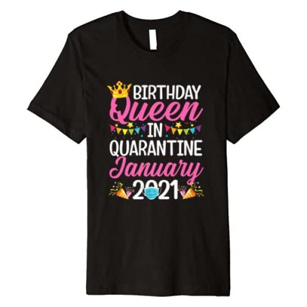Quarantine Birthday Gift for Girls Women Graphic Tshirt 1 Quarantine Birthday Queen January 2021 Gift for Girls Womens Premium T-Shirt