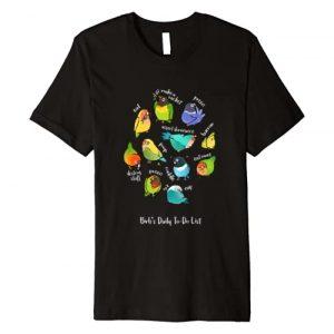 Birbber Graphic Tshirt 1 Lovebird's Daily To-Do List T-Shirt (Dark version)