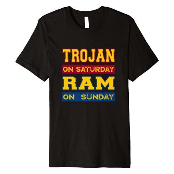 Trojan on Saturday Ram on Sunday Los Angeles Fans Graphic Tshirt 1 Trojan on Saturday Ram on Sunday Los Angeles Football Fans Premium T-Shirt
