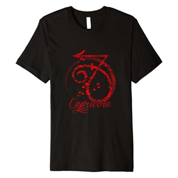 InGENIUS Capricorn Sign Birthday Astrology Gifts Graphic Tshirt 1 Capricorn Zodiac Sign Red December January Birthday Gift Premium T-Shirt