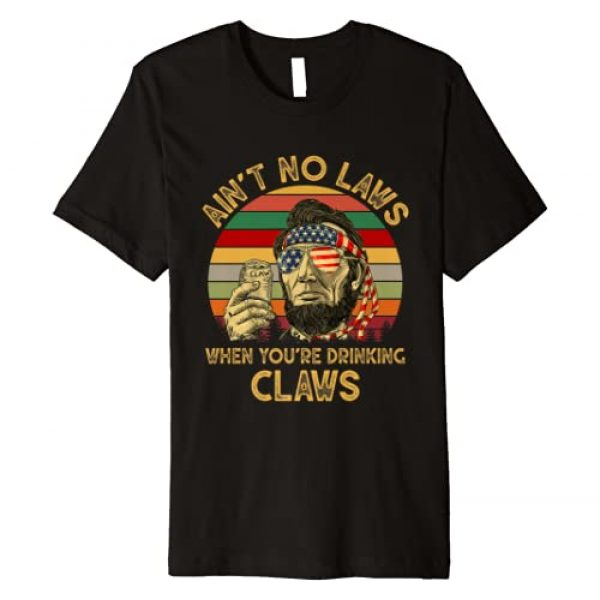 Vintage Funny Drinking Gift Graphic Tshirt 1 Vintage Ain't No Laws When You're Drinking Claws Funny Premium T-Shirt