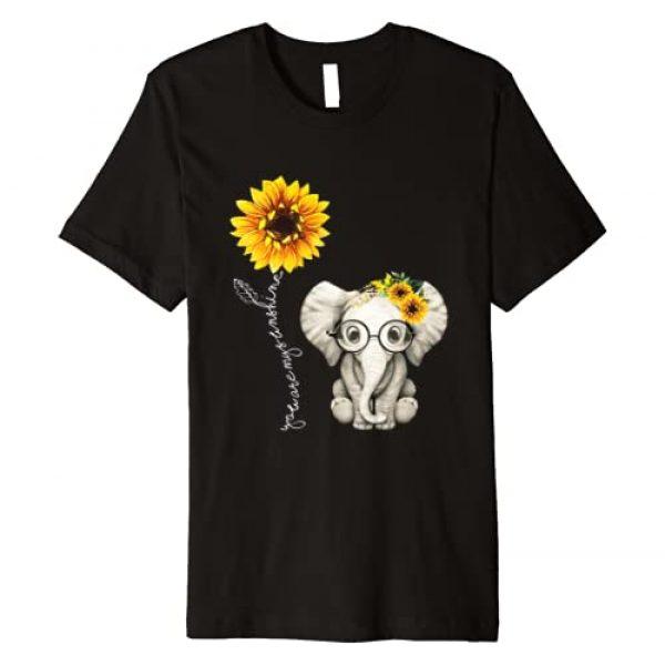 Sunflower Elephant T-Shirt Graphic Tshirt 1 You Are My Sunshine Hippie Sunflower Elephant Gift Friend Premium T-Shirt