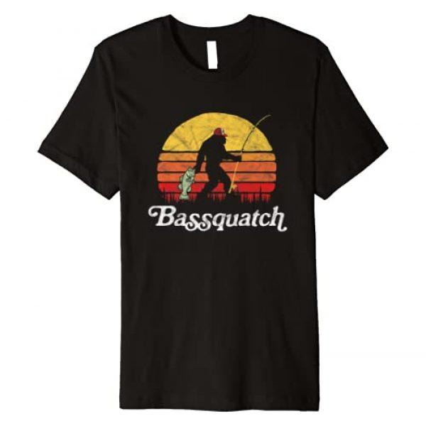 Bigfoot UFO Believer 2001 Tees Graphic Tshirt 1 Bassquatch! Funny Bigfoot Fishing Outdoor Retro Premium T-Shirt
