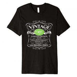 1981 Birthday Funny Creative Designs Graphic Tshirt 1 Vintage 1981 40th Birthday Gift Men Women Original Design Premium T-Shirt