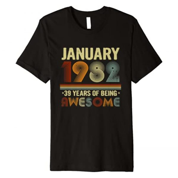 Born in January Vintage Birthday Gifts Co. Graphic Tshirt 1 January 1982 39 Years of Being Awesome Cool 39th Birthday Premium T-Shirt