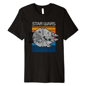 Star Wars Graphic Tshirt 1 Millennium Falcon Top Down Retro Line Premium T-Shirt
