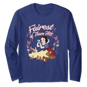 Disney Graphic Tshirt 1 Snow White Fairest Floral Wreath Long Sleeve Tee
