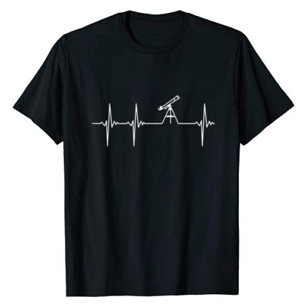 Tavimana - Space Science Geek Nerd Kids Gift Shop Graphic Tshirt 1 Telescope Heartbeat - Space Planets Stars Sky View Lovers T-Shirt