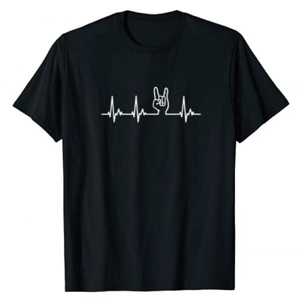 Heavy Metal Shirts Graphic Tshirt 1 Devil Horns Heavy Metal Heartbeat TShirt