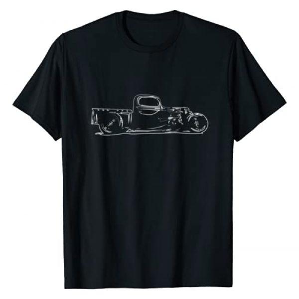 Rat Rod Graphic Tshirt 1 Rust Bucket Outline Rat Rod Hot Rod Steampunk T-Shirt