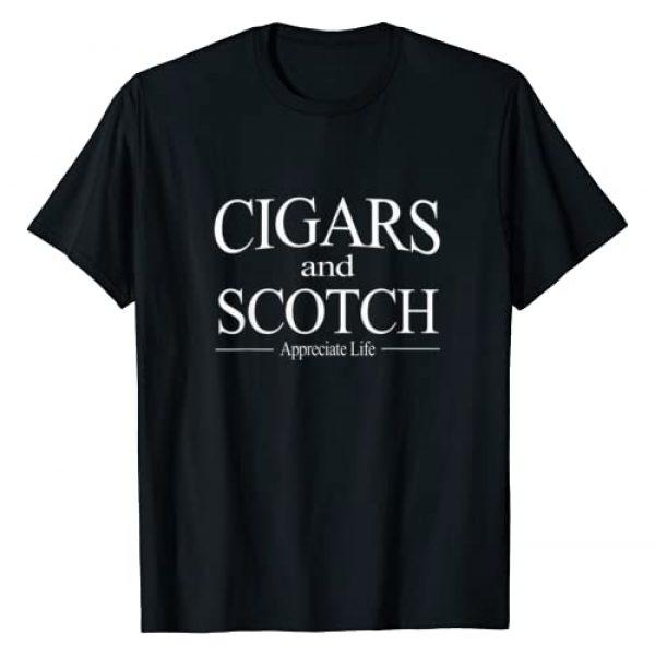 HGO Cigar Tees Graphic Tshirt 1 Cigars And Scotch Appreciate Life T Shirt for Cigar Smokers T-Shirt