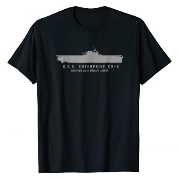 WWII Naval Vessel Tees Graphic Tshirt 1 USS Enterprise CV 6 WWII Aircraft Carrier Tech Print T-shirt