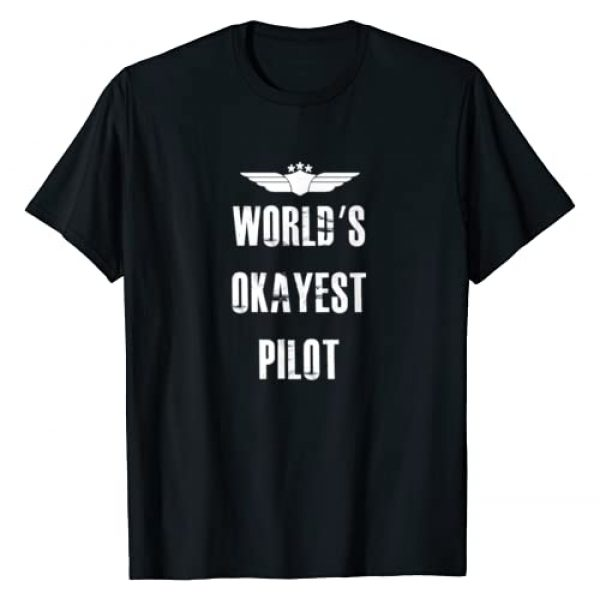 Unknown Graphic Tshirt 1 World's Okayest Pilot Funny Flying Aviation T-Shirt