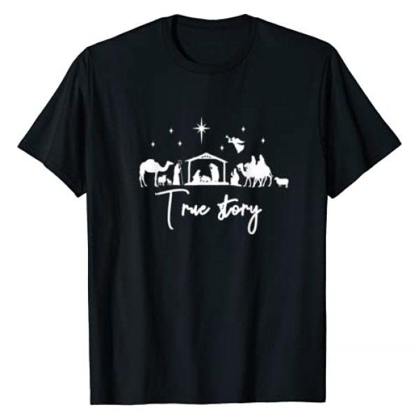 Christian Christmas Tees NYC Graphic Tshirt 1 True Story Nativity Christmas Baby Jesus Manger Catholic T-Shirt