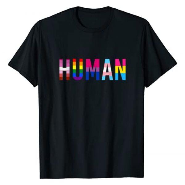 LGBT Pride Clothing Graphic Tshirt 1 HUMAN LGBT Flag Gay Pride Month Transgender Rainbow Lesbian T-Shirt