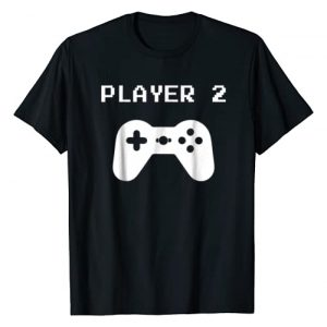 DesignsByJnk5 Family Graphic Tshirt 1 Player 2 - Matching Player 1 Player 2 Shirt for Video Gamers