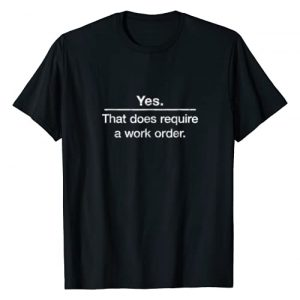 "Network Closet Breakout Novelty T-shirts Graphic Tshirt 1 ""Yes. That does require a work order."" IT technician t-shirt"