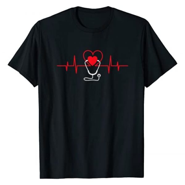 Valentine Tee Graphic Tshirt 1 Heart Heartbeat Stethoscope Valentines Day Gifts For Nurses T-Shirt