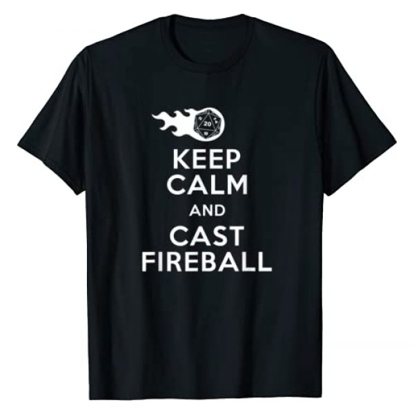 RPG Role Playing Games Ebloui Tees Graphic Tshirt 1 Funny Keep Calm & Fireball Dungeon Dragons Gaming T-Shirt