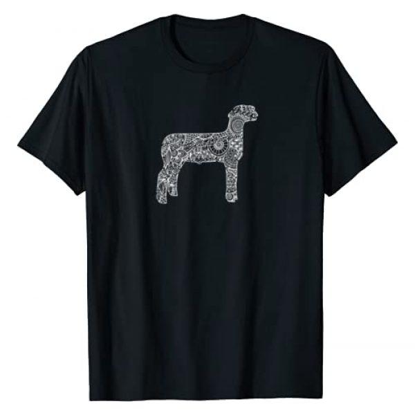 Livestock Show Shirts Graphic Tshirt 1 Sheep Livestock Show Mandala T-Shirt - Lamb Ram Stock Show