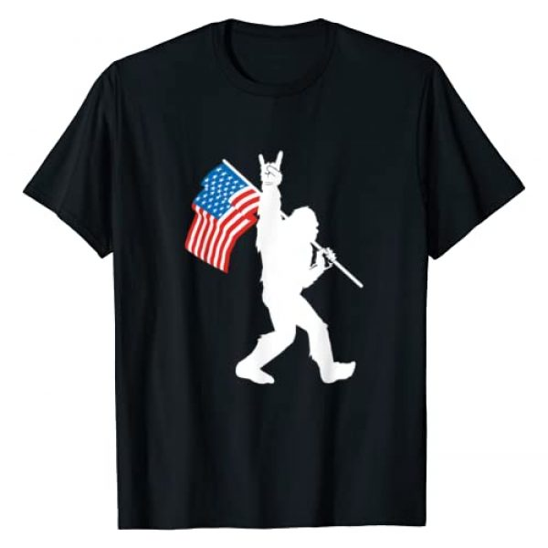 Funny Bigfoot Rock and Roll Gift Graphic Tshirt 1 Funny Bigfoot Rock and Roll USA Flag for Sasquatch Believers T-Shirt