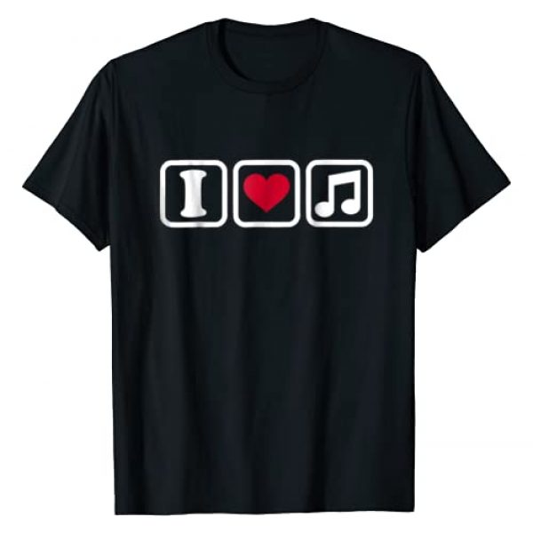 Music T-Shirts Graphic Tshirt 1 I love music note T-Shirt