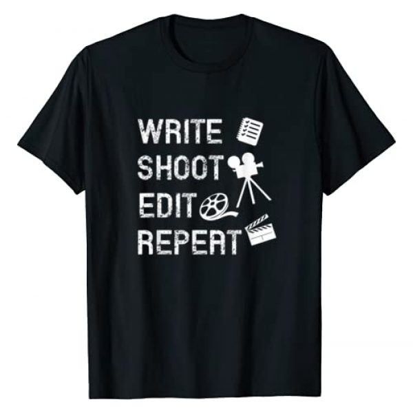 Film Maker by Adam and Marky Graphic Tshirt 1 Write Shoot Edit Repeat Movie Filmmaker Gifts T-Shirt