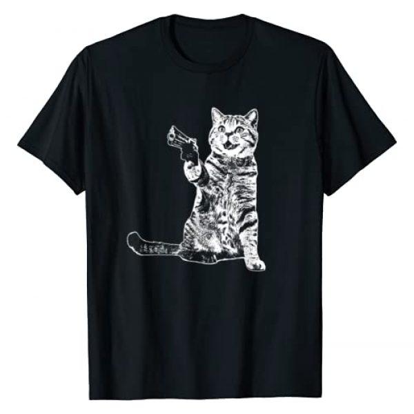 Cat and Gun Tee Graphic Tshirt 1 Gun Kitty Funny Cat T-Shirt