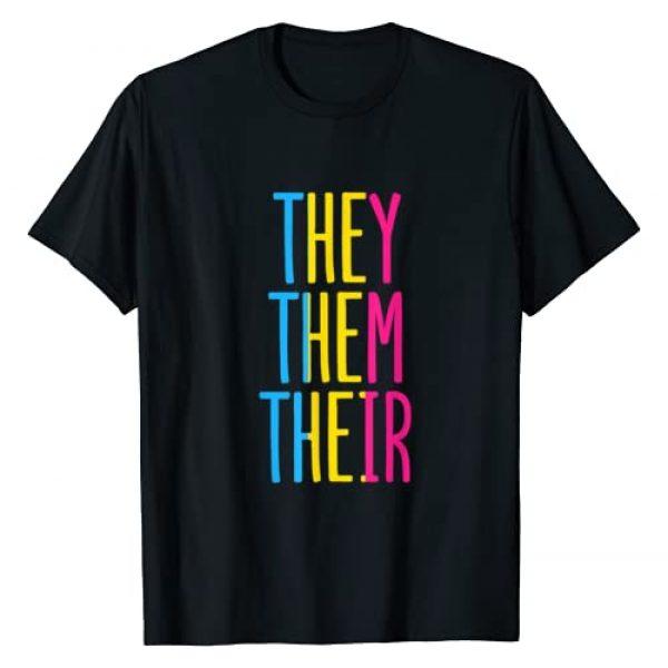 They Them Their Pronouns LGBTQ Pride Designs Graphic Tshirt 1 Pansexual Pan They Them Their Enby Non-binary Pronouns Pride T-Shirt
