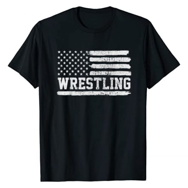 Wrestle And Wrestle Graphic Tshirt 1 Wrestling USA Flag Vintage T-Shirt