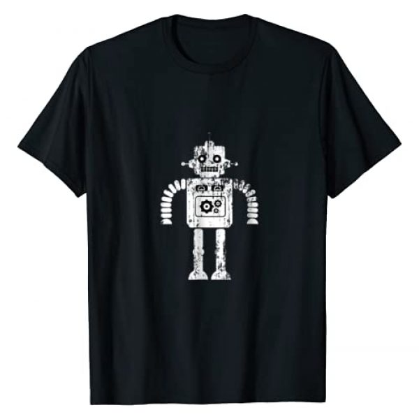Geek Humor & Philosophy Graphic Tshirt 1 Distressed Retro Robot Dark T-Shirt Mens Womens Kids