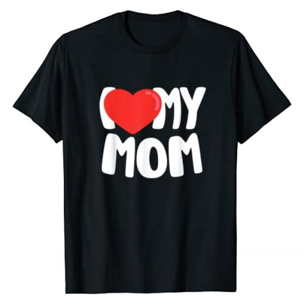 I Love My Mom T-Shirts Co. Graphic Tshirt 1 I Love My Mom T-Shirt with Large Red Heart