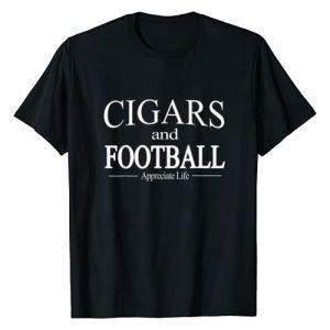 HGO Cigar Tees Graphic Tshirt 1 Cigars And Football Appreciate Life TShirt for Cigar Smokers T-Shirt