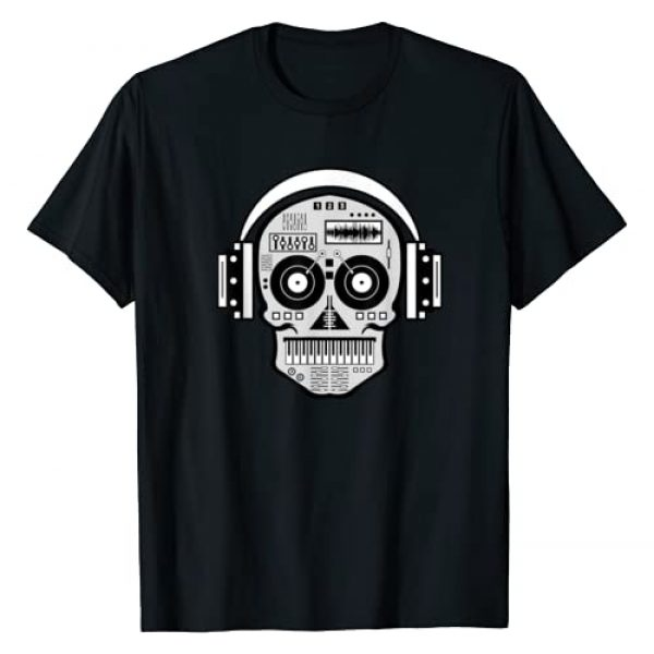 Sugar Skull Electronic Music DJ T-shirts 360 Graphic Tshirt 1 Sugarskull DJ Table Shirt | Skull Disc Jockey Headphones