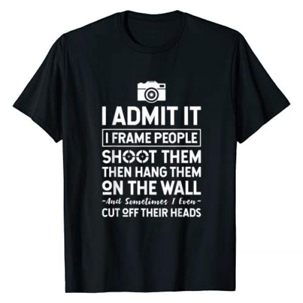 Photography & Photographer Shirts Graphic Tshirt 1 I Shoot, Frame, Hang People - Funny Photographer Camera T-Shirt