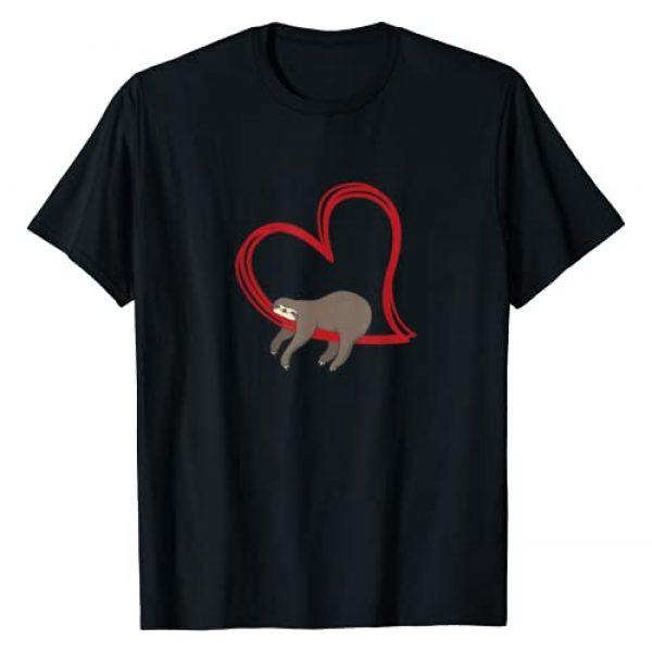 RhynoWear Sloths Graphic Tshirt 1 Valentines Sloth Shirt Girls Women Sloths Gifts for Women T-Shirt